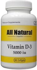 All Natural Vitamin D D3 5000 IU 360 High Strength Cholecalciferol Softgels