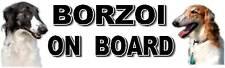 BORZOI ON BOARD Car Sticker By Starprint
