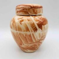 Vintage North Pole, Alaska Art Pottery Jar Artist-Signed Ceramic Vase w/ Lid