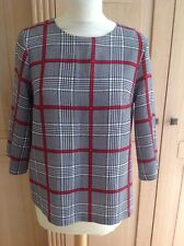 LOVELY TOPSHOP CHECKED 3/4 SLEEVE TOP UK SIZE 8 WORN TWICE GREAT CONDITION