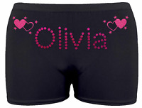 Personalised LYCRA Black Dance Gymnastic Gym Shorts Glitter Text + HEART & STARS