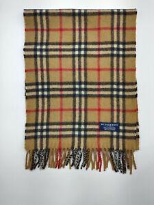 Burberry genuine Vintage 100% Cashmere Nova check Camel winter Scarves Scarf