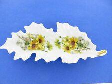 Leaf Shaped Celery Dish Relish Tray Old Nuremberg Bavaria Germany w/Sunflowers
