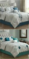 Chezmoi Collection 7-Piece Floral Embroidery Printed Comforter Set