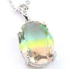 Classical Rainbow Watermelon BI-COLORED Tourmaline Gem Silver Necklace Pendant
