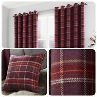 Curtina - CAMERON Purple - Tartan Eyelet Ring Curtains / Cushions Collection