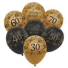 """12"""" 10 Black and Gold Happy Birthday Age Number HELIUM LATEX BALLOON Party Decor"""