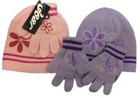 2 PC Set Girls Kids Childrens Winter Pink Lilac Hat & Gloves Acrylic One Size