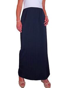 NEW (2239) Smart Long Stretch Skirt Navy Size 10-22