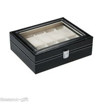 10 Black Leather Watch Case Display Storage Gift Jewelry Men Collector Box New
