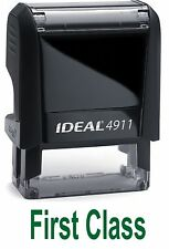 First Class text on IDEAL 4911 Self-inking Rubber Stamp in GREEN INK