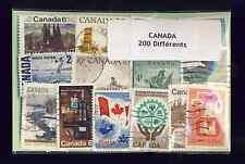 Canada 200 timbres différents oblitérés