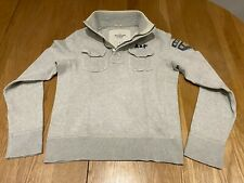 Abercrombie and Fitch Men's Heather Grey Henley Jumper size Medium - (M)