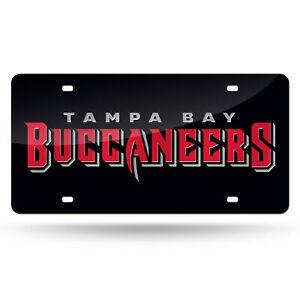 Tampa Bay Buccaneers Black Mirrored Laser Cut License Plate Laser Tag