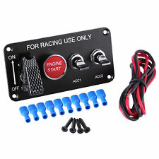 Racing Car RV 12V Ignition Switch Panel Engine Start Push Button LED Toggle Kit