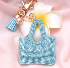 Hot Fashion 700+ Crystals Rhinestones Blue Handbag Charm For Women Keyring Bag