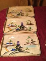 Vintage Set of 3 Japanese Nesting Wood Serving Trays Hand Painted