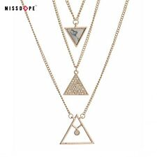 NEW GOLD MULTILAYER NECKLACE TRIANGLE NECKLACE CRYSTAL PENDANT MARBLE WOMENS UK