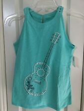NWT Justice High Neck Guitar Studded Tank Top Size 12 Studs Music