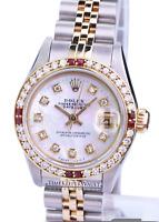 Ladies Rolex Datejust  26mm  White MOP Diamond Dial Diamond Bezel-QUICKSET