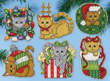 Cross Stitch Kit ~ Design Works Set of 6 Christmas Kittens Ornaments #DW5917