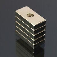 5Pcs 20x10x4mm Hole N35 Strong Cuboid Blocks Rare Earth Neodymium Magnets Tools
