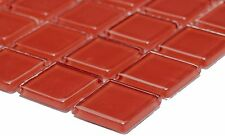 RED Mosaic tile GLASS 3D clear Square Wall BATHROOM Splashback Kitchen-60-0904_b