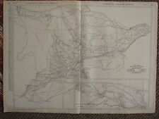 1922 LARGE AMERICA MAP ~ ONTARIO MILEAGE TOWNS RAILROADS LINES RAND MCNALLY