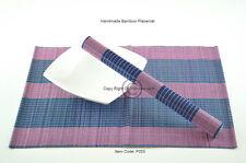 4 Bamboo manteles, tapetes de mesa hecha a mano, Púrpura-Azul, P055