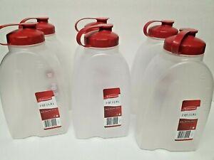 Lot of 6 Rubbermaid Liquid Bottle w Lid 2 Quart 1.9 L Chili Red L31776349 New