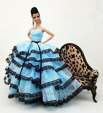 Eaki Blue Clothes Silkstone Barbie Fashion Royalty Evening Dress Outfit Gown Fr