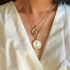 Greek Style Double Coin Gold Silver Layered Necklace