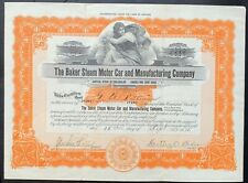 BAKER STEAM MOTOR CAR & MANUF. CO. Stock 1918. Pueblo, CO. Hartley O. Baker SIG