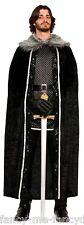 HOMBRE MUJER LARGO NEGRO adorno de pelo Medieval Disfraz capa Capa