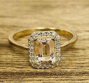 9ct Yellow Gold Morganite Emerald Cut Diamond Cluster Ring- Size O - TH1052
