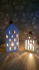 Ceramic House Shaped Tealight Holders Set of 2 Cottage Ornament Tealight Holder