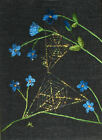 """ACEO Original """"Flowers & Double Webs"""" Silk Hand Embroidery - A Lobban"""