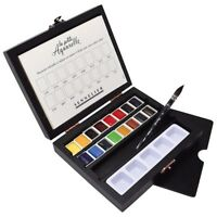 Sennelier La Petite Watercolor Half-Pan Set Of 16 in Black Wooden Box