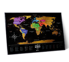 DETAILED WORLD MAP BLACK SCRATCH OFF PLASTIC TRAVEL MAP PUSH PIN POSTER CARD