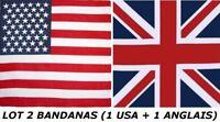 LOT DE 2 BANDANAS FOULARD DRAPEAU USA ETATS UNIS COUNTRY & ANGLAIS 100 % COTON