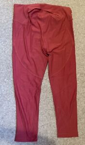Ladies Under Armour Leggings Size LG (16-18) Pink Cropped Trousers UA HeatGear