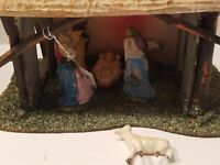 Vintage Nativity Scene Creche Stable Holy Family made in Italy, Rare!