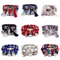Boho Multilayer Natural Stone Crystal Bead Tassel Pendant Chain Bracelet Bangle