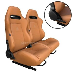 2 X TANAKA TAN PVC LEATHER RACING SEATS RECLINABLE + SLIDERS FITS FOR VW