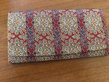 Vintage Asian Silk Fabric Floral Design Clutch Checkbook Purse Wallet Mint