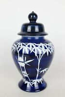 "Vintage Toyo Japan Blue/White Bamboo Graphic Porcelain Lidded Urn Vase - 8"" Tall"