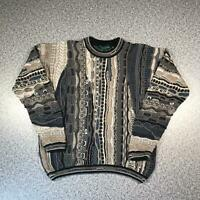 Vintage 90s TUNDRA Cosby Style Mens Sweater Large | 3D Knit Jumper