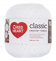 Coats Crochet Red Heart Classic Crochet Thread Size 10-White, Other, 13.3 x 13.3