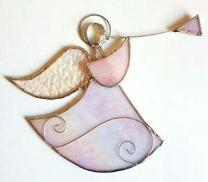 Pale Pink Guardian Angel stained glass suncatcher xmas window hanging gift