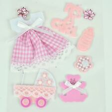 Sweet Baby Girl Bib Bottle Pink Scrapbook Craft 3D Collage Dimensional Sticker